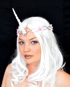 White unicorn crown  cosplay  headpiece by Frecklesfairychest, $60.00