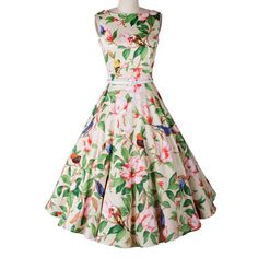 Vintage Women's Round Neck Floral Print Sleeveless Dress