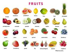Fruit Berries and Vegetables with pictures and a word list learning English. Learn the names of over 80 fruit and vegetables.