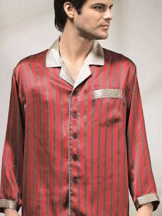 Men Silk Pajamas Set, Silk Nightwear