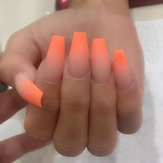 """If you're unfamiliar with nail trends and you hear the words """"coffin nails,"""" what comes to mind? It's not nails with coffins drawn on them. Although, that would be a cute look for Halloween. It's long nails with a square tip, and the look has. Neon Nail Art, Neon Nails, Matte Nails, 3d Nails, Ombre Nail Designs, Acrylic Nail Designs, Acrylic Art, Nail Art Designs, Gel Nails At Home"""