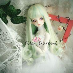 1/6 6-7 Dal.Pullip.BJD.SD LUTS DOC supper dollfie Doll green mix wig hair C58