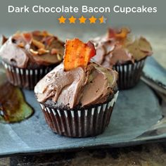 Dark Chocolate Bacon Cupcakes | Calling all bacon lovers! This pin is for you, repin to share your love of bacon and desserts.