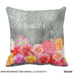 """Motivationskissen """"Life is Beautiful"""" Zierkissen"""