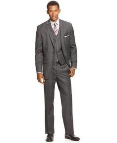Alfani RED Suit, Grey Herringbone Stripe Vested Slim Fit - Mens Suits & Suit Separates - Macy's