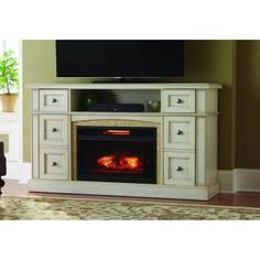 Home Decorators Collection Bellevue Park 59 in. Media Console Infrared Electric Fireplace in Antique White Finish-WSFP59ECHD-16 - The Home Depot