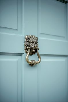 Stunning, decorative brass door knocker, beautifully hand cast to suit both traditional or contemporary properties. In an antiqued brass finish. Brass Door Knocker, Door Knockers, Composite Door, Door Accessories, Timeless Elegance, Traditional Design, Lions, Solid Brass, Antique Brass