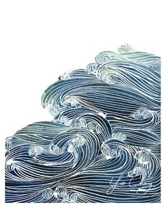Gorgeous watercolor. Ocean Wave in Blue via Yao Cheng.