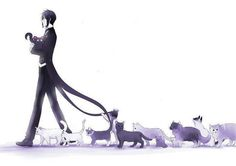 I think I found out where my cats keep running off to. I lost 3 cats. I think they saw me watching Black Butler and thought Sebastian was so sexy that he would be the perfect master. XD