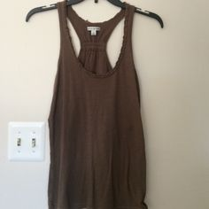 AE Racerback cotton tank Brown cotton Racerback tank. Small ruffle detail around neckline. American Eagle Outfitters Tops Tank Tops