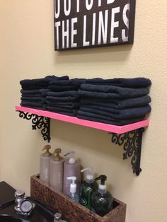 DIY Tutorial: Using Hobby Lobby brackets to make cute shelves in any color! For a small bathroom.