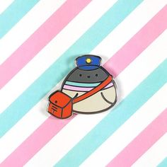 Pigeon pin Little Poe hard enamel pin bird dove mail delivery lapel pin brooch badge flair pin hat nature animal birds kawaii cute post Craft Stickers, Cute Stickers, Pokemon Ditto, Cool Stationary, Plushie Patterns, Animal Doodles, Jacket Pins, Cute Posts, Hard Enamel Pin