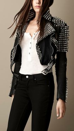 Just wow! Love this Burberry Brit Multi-Stud Cropped Leather Biker Jacket. Wish…