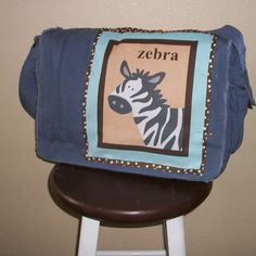 Messenger bag in denim blue Zoo Collection by tadalyndesign