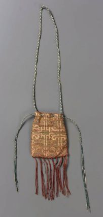 Seal bag, Hispano-Moresque, 13th century  Silk and gold-metallic thread; psuedo-lampas; linen braid drawstrings, possibly fingerloop braid (7 loop chevron braid). The tassels are a braid ended with free hanging ends.