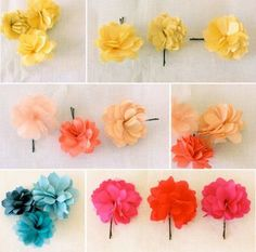 """Flowers made of layered fabric & tulle, attached to a 2"""" bobby pin. You can purchase these @ handle & spout."""