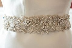 Beaded wedding dress belt Flora 27 to 28 by EnrichbyMillie