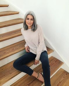 Grey Ombre Hair, Short Grey Hair, Short Hair Styles, Gray Hair Growing Out, Grow Hair, Grey Hair Before And After, Grey Hair Transformation, Silver White Hair, Transition To Gray Hair