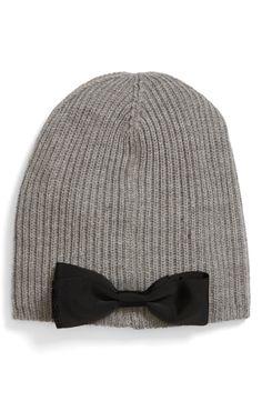 grosgrain bow knit beanie