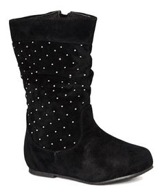 Look what I found on #zulily! Black & Silver Studded Slouch Boot #zulilyfinds