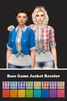 Base Game Jacket Recolors - Sims 4Updated: 4/28/17  It was about time to update this recolor, it's been 2 years :P  Standalone, Custom Thumbnail, Ea's Mesh, Patterns by Laura Clover , solids vibrancy basics palette by @pxelbox  Download recolors (no...