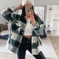 Flannel Jacket, Plaid Coat, Shirt Jacket, Tweed Coat, Green Flannel, Fall Jackets, Jackets For Women, Ladies Jackets, Camisa Boho