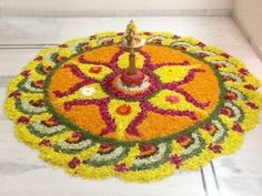 Big list Flower Rangoli Designs ideas and pictures for this ganesh chaturthi or any other Indian festivals. Learn flower rangoli designs for competition with flowers. Indian Rangoli Designs, Rangoli Designs Flower, Flower Rangoli, Kolam Designs, Flower Designs, Diwali Decoration Items, School Decorations, Festival Decorations, Flower Decorations