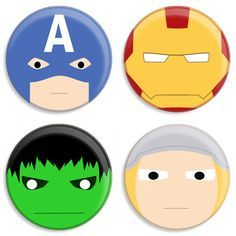 Avengers faces for cake or cupcakes