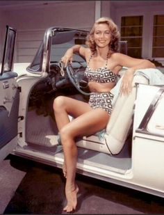 Dorothy Malone in a 1955 Chevrolet Bel Air Convertible