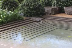 Chelsea garden show - Luciano Giubbilei's Laurent-Perrier Garden after the rain Photo by Carolyn Willitts Modern Landscaping, Pool Landscaping, Garden Landscape Design, Landscape Architecture, Small Gardens, Outdoor Gardens, Laurent Perrier, Pool Fountain, Ponds Backyard