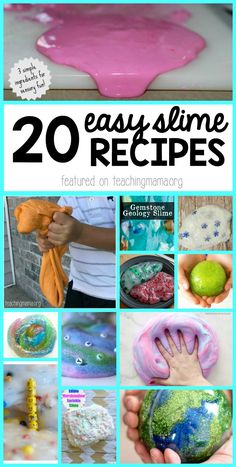 20 Easy Ways to Make Slime - these are amazing recipes that are easy to make! #slimerecipes #slime #kidsactivities #recipesforplay