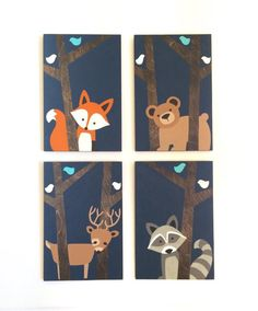 This adorable, hand painted, set of four woodland … Woodland Animal Nursery, Fox Nursery, Woodland Nursery Decor, Woodland Animals, Nursery Wall Art, Hunting Nursery, Forest Animals, Art Fox, Fox Painting