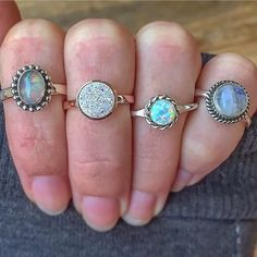Ethiopian Opal    Rose Gold and Druzy    Navajo Opal    Moonstone    All available in our 'Gems and Stones' and 'Navajo' Collections    www.indieandharper.com Indie And Harper, Women Jewelry, Unique Jewelry, All That Glitters, Navajo, Hippie Boho, Gypsy, Opal, Gemstone Rings