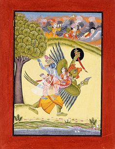 Narayana (Vishnu) riding on Garuda with Shri Lakshmi Painting; Watercolor, Opaque watercolor, gold, and silver on paper Sheet 10 3/8 x 8 in. (26.35 x 20.32 cm); Image: 8 3/8 x 5 7/8 in. (21.27 x 14.92 cm)