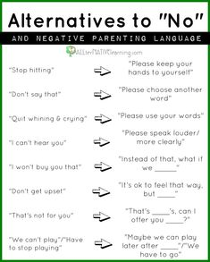 Adopt the art of parenting without saying no. Find a positive approach to handling your children and using positive rather than negative language choices.