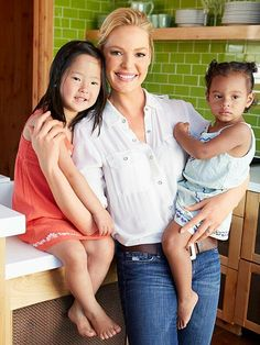 Actress Katherine Heigl and her baby girls