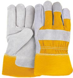 Majestic 2501CY Cowhide Leather Work Gloves Yellow Back and Cuff PE Safety Cuff (DZ)