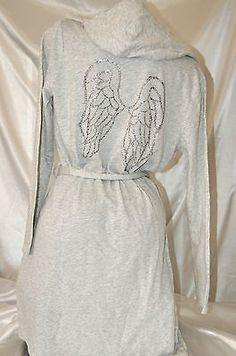 L-VICTORIA S SECRET GRAY ROBE LIMITED EDITION ANGEL WING COTTON BATHROBE~NWT
