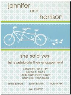 Get Bicycle Invitation Cards With Bike for Two and Prints Charming