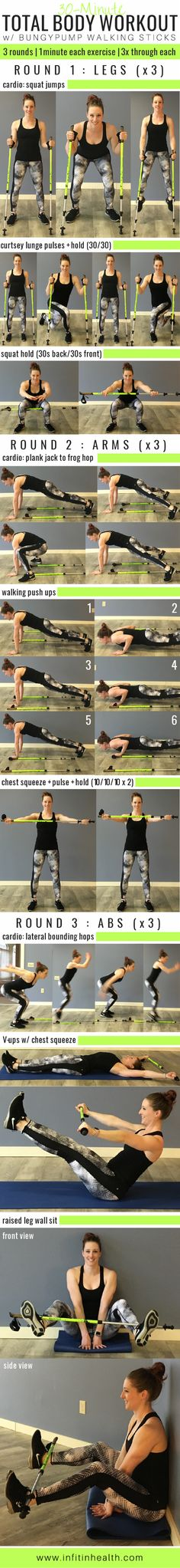 30-Minute Total Body Workout w/ Walking Poles | Posted By: CustomWeightLossProgram.com