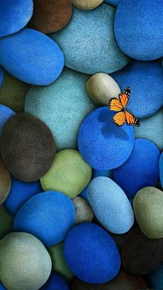 Butterfly and beautiful blue stones. Zen background wallpapers for a calming and relaxing look on your phone. Re-pin for later. - @mobile9