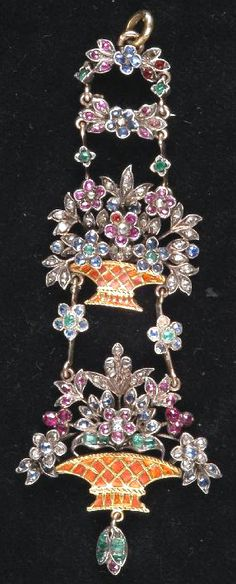 Giardinetto Pendant - Multi Gems, Enamel, Silver And Gold - French  c.18th Century (?)