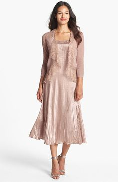 Komarov Beaded Neck Satin Dress & Chiffon Jacket available at #Nordstrom... D, this one is really nice too!