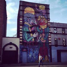 At the top of Piazza Smithfield by #Vadis - #Tilf. #streetart #streetartdublin #mural #dublin