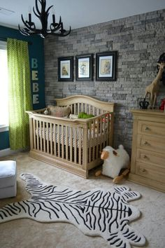 Faux stone wallpaper used in baby nursery. Maybe for future baby rodwill. Baby Boy Rooms, Baby Boy Nurseries, Kid Rooms, Small Rooms, Small Space, Cute Baby Boy, Baby Boys, Nursery Room, Kids Bedroom