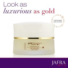 Revive glowing natural beauty with the Gold Dynamics Neck Firming Gel, proven to improve elasticity and enhance firmness. http://jafra.me/pxd