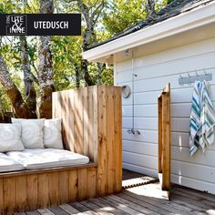 Outdoor shower/Outdoor seating for my dream pool area lol Outdoor Living Rooms, Outside Living, Outdoor Spaces, Outdoor Seating, Outdoor Fun, Outdoor Decor, Outdoor Lounge, Outdoor Ideas, Outdoor Baths