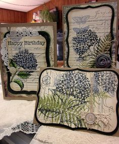 Hydrangia group by kathyrosecrans, via Flickr.....gorgeous. What stamp is that fern? Found it: Silhouette Fern Wood Stamp Hero Arts Wood Stamp K999-K5314