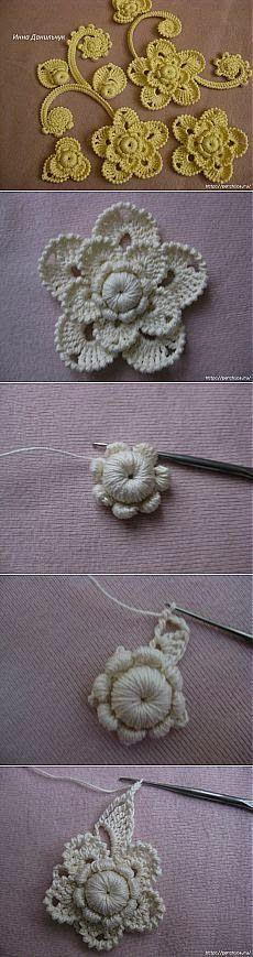 wzory koronki irlandzkiej  irish crochet detals. Diagrams to follow. ﻬஐCQஐﻬ #crochet #spring #crochetflowers #irishlace #flowers