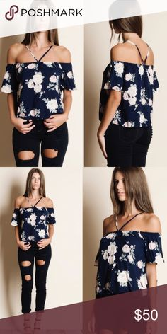 Floral Off Shoulder Tee Shirt Beautiful floral white and navy blue off shoulder tee shirt with tie around neck. Small and medium available. Aluna Levi Tops Tees - Short Sleeve